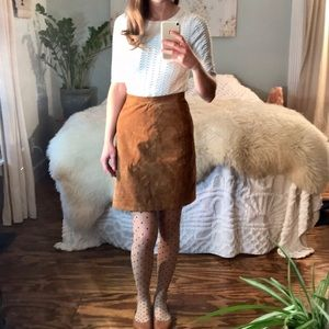 Vintage 70s Leather Suede Skirt High Waist Camel S